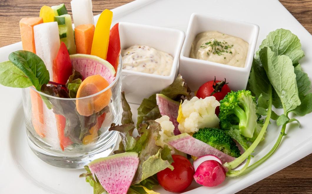 季節野菜のスティックサラダ 2種のディップソース